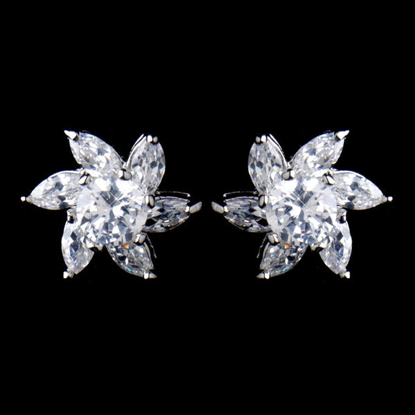 Antique Rhodium Silver Clear CZ Crystal Flower Stud Earrings 8576