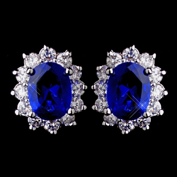 Princess Kate Middleton Inspired Silver Sapphire Blue or Clear CZ Earrings 8625