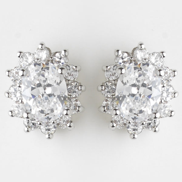 Antique Silver Clear CZ Crystal Earrings 8625