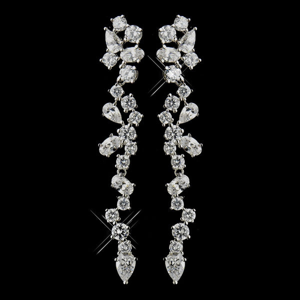 Antique Silver Clear CZ Crystal Dangle Bridal Earrings 8654