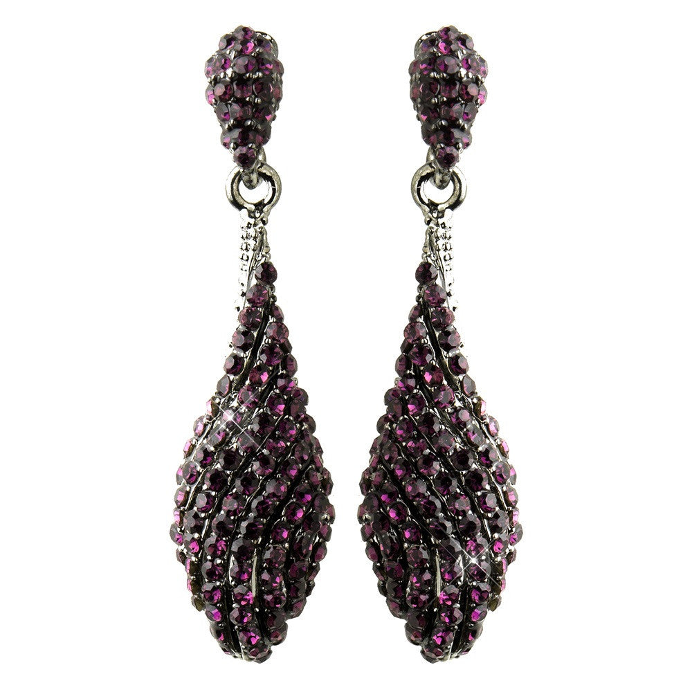 Antique Silver Amethyst Pave Rhinestone Dangle Bridal Earrings 8659