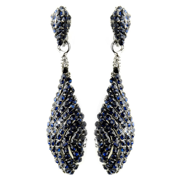 Antique Silver Navy Pave Rhinestone Dangle Bridal Earrings 8659