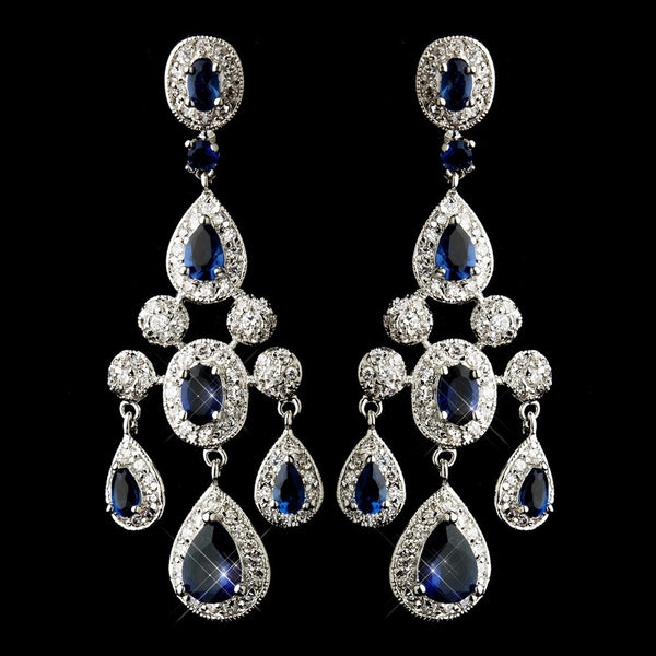 Antique Silver Sapphire CZ Crystal Bridal Chandelier Bridal Earrings 8677