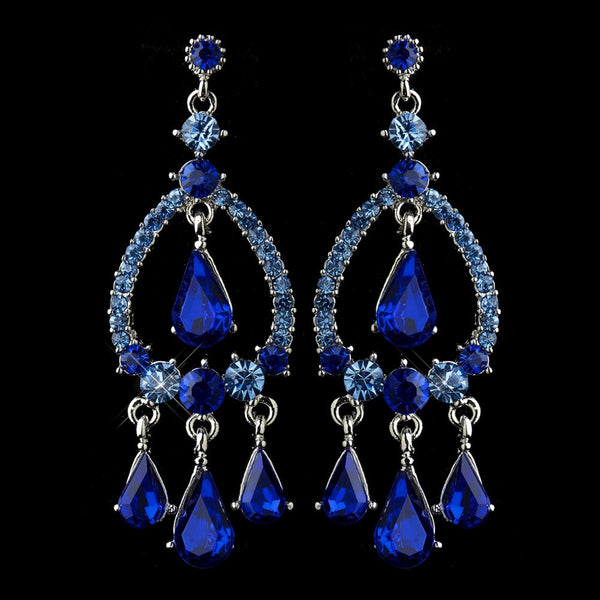 Silver Blue Sapphire Crystal & Rhinestone Chandelier Bridal Earrings 8686