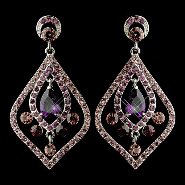 Antique Silver Amethyst CZ Tear Drop Crystal & Rhinestone Chandelier Bridal Earrings 8687