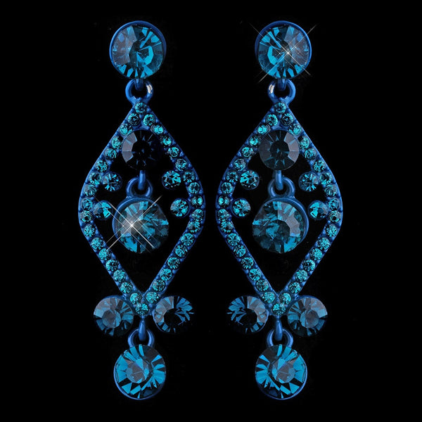 Turquoise Crystal Post Dangle Earrings 8705