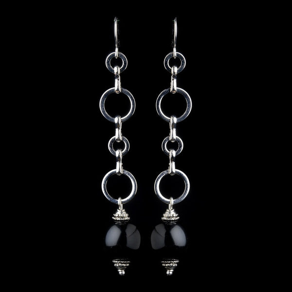Black Round Chain Drop Bridal Earrings 8743