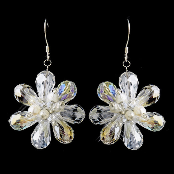 E 8776 Clear Crystal Floral Earring with Fresh water pearl accent on hook