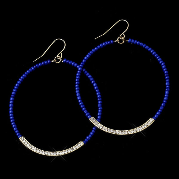 Gold Blue Bead Earrings 8817