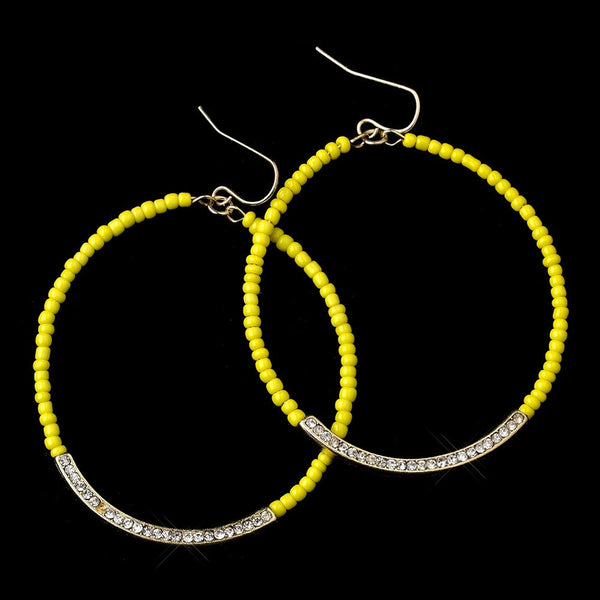 Gold Yellow Bead & Clear Rhinestone Hoop Earrings 8817