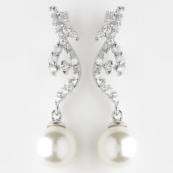 Antique Silver Diamond White CZ Earrings 8907