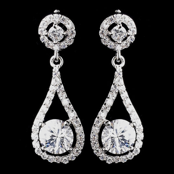 Antique Silver Clear CZ Crystal Bridal Earrings 8930