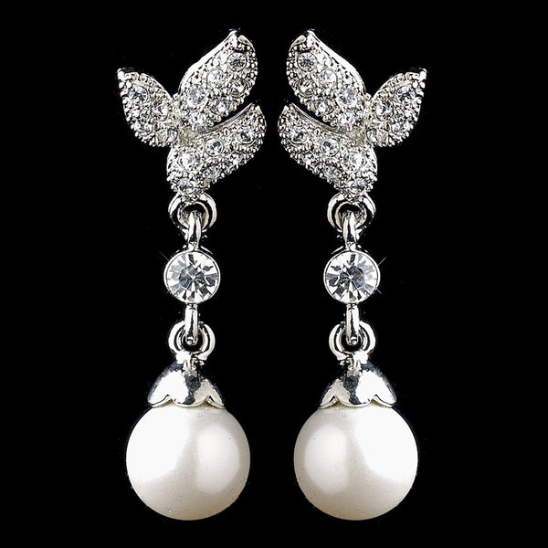 Antique Rhodium Silver Clear CZ Crystal Bridal Earrings 8932 w/Pearl Drop