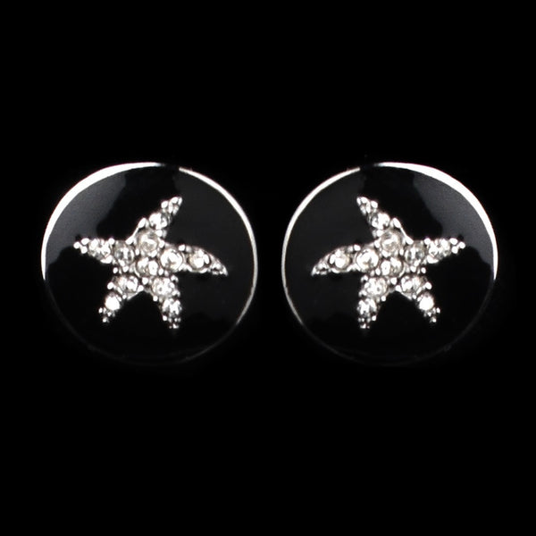 Silver Black Enamel CZ Starfish Earrings 8940
