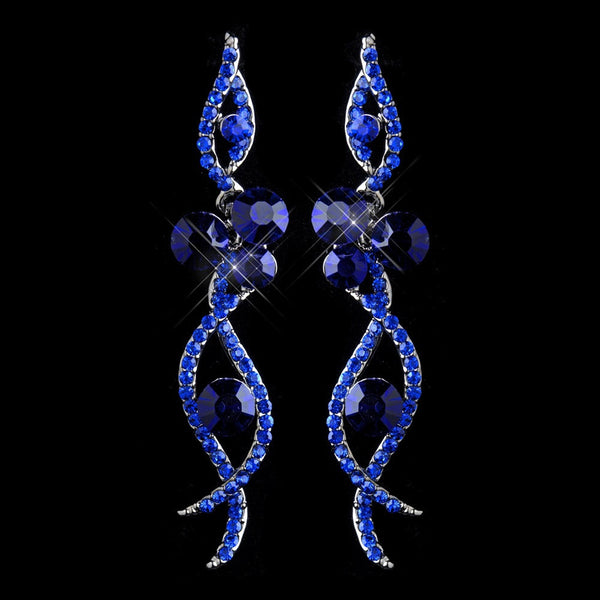 Antique Silver Blue Rhinestone Dangle Earring 8942