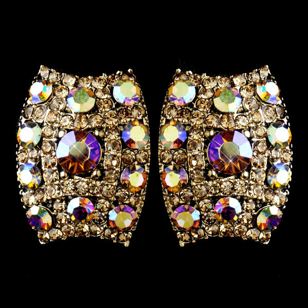 Gold with AB & Lt Brown Rhinestone Clip On Earrings 8947