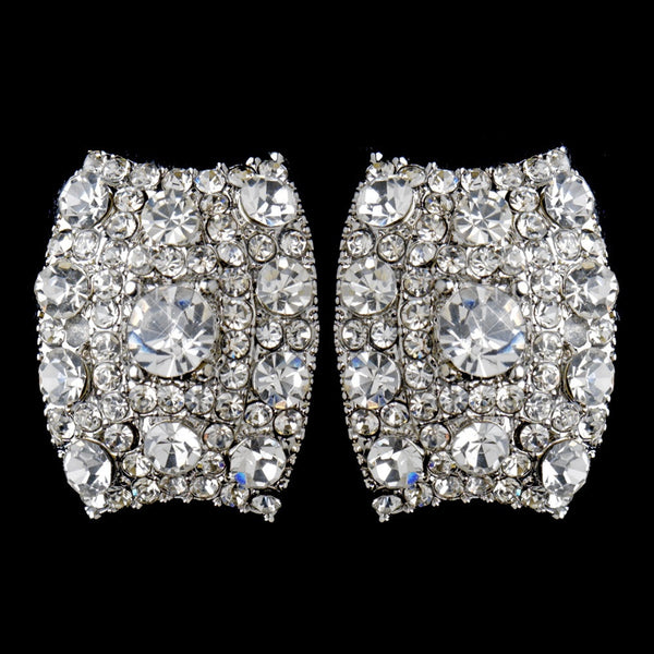 Antique Silver Clear Rhinestone Clip On Earrings 8947
