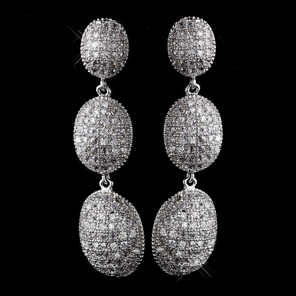 Antique Silver Clear CZ Crystal Drop Earrings 8978