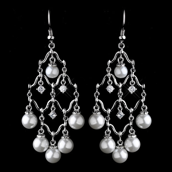 Antique Silver Diamond White Pearl & Clear CZ Crystal Chandelier Earrings 8979
