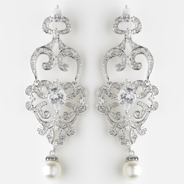 Antique Silver Diamond White Pearl & Clear CZ Crystal Chandelier Earrings 9003
