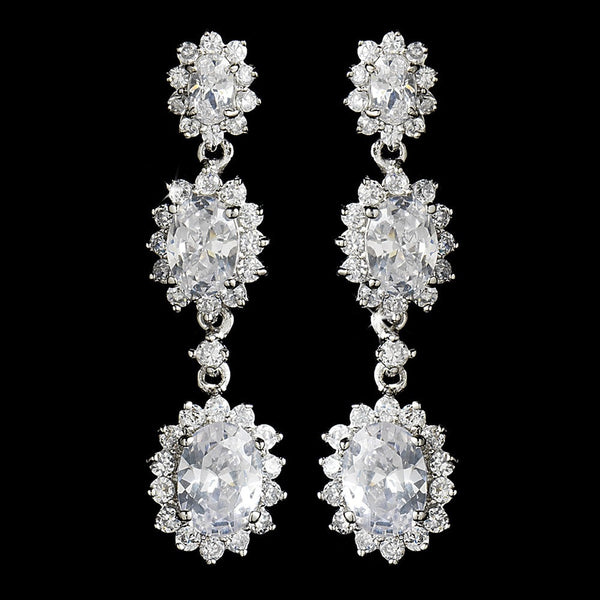 Antique Silver Clear Cubic Zirconia Triple Oval Drop Earrings 9044