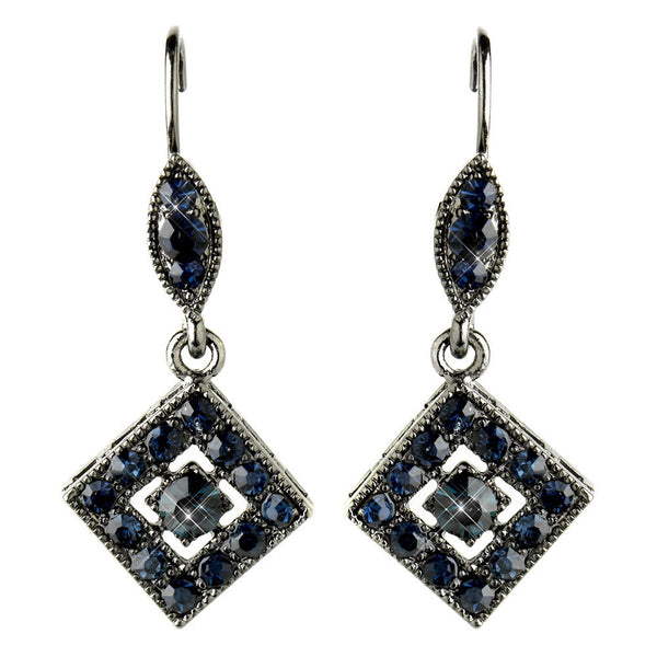 Hematite Navy Austrian Crystal Drop Bridal Earrings 9245
