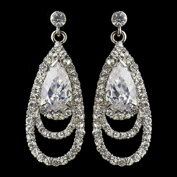 Antique Silver Clear CZ Crystal & Rhinestone Drop Bridal Earrings 9247