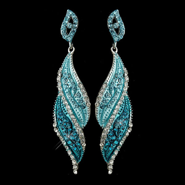 Silver Turquoise Rhinestone Dangle Bridal Earrings 9252