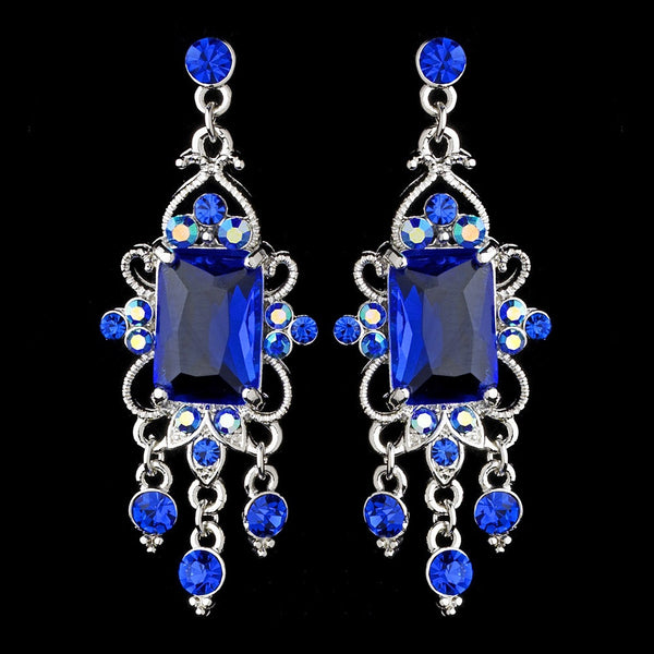Vintage Silver & Blue Crystal Drop Earrings E 936