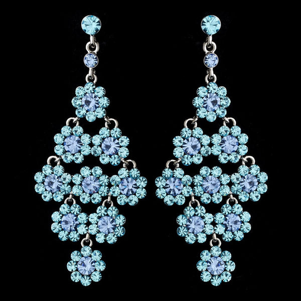 Glamorous Silver & Aqua Chandelier Earrings E 939
