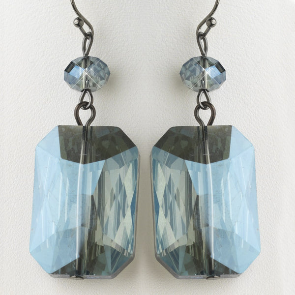 Hematite Blue Faceted Glass Crystal Drop Earrings 9509
