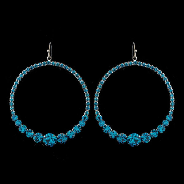Turquoise Rhinestone Hoop Earrings E 951