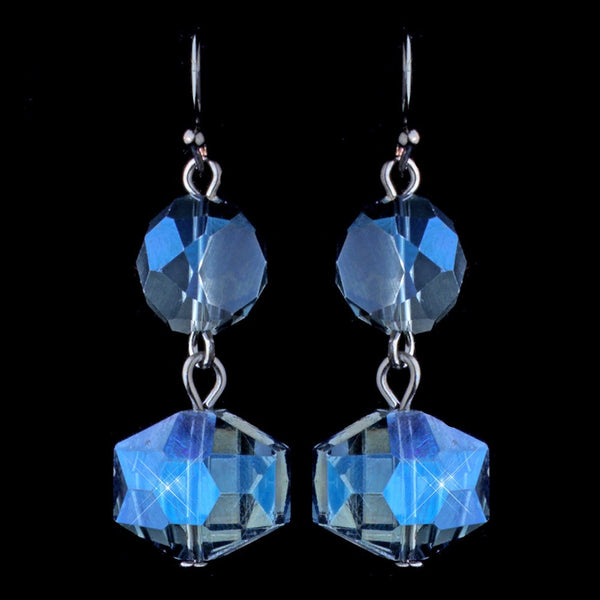 Hematite Blue Diamond Faceted Glass Drop Earrings