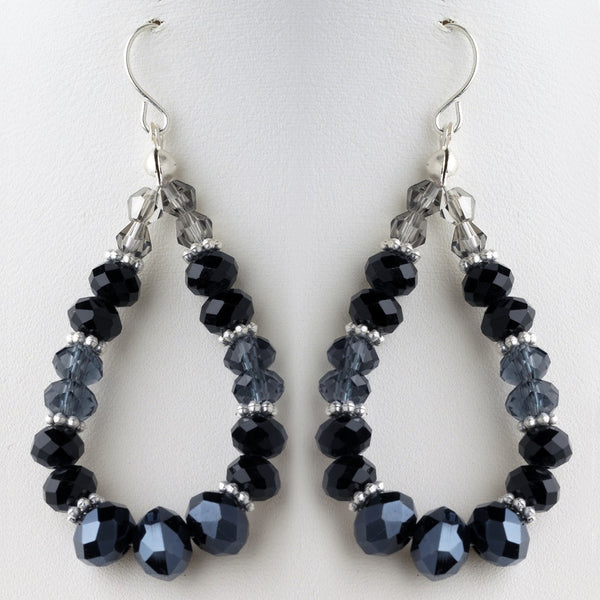 Black & Blue Mix Faceted Glass Stone Hoop Earrings 9523