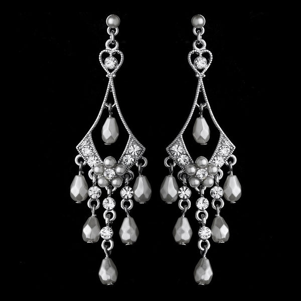Beautiful Silver White Chandelier Earrings E 955