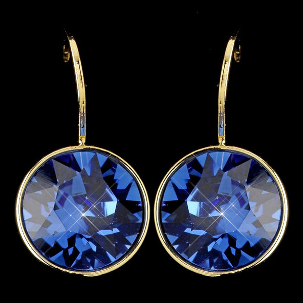 Gold Sapphire Swarovski Crystal Element Round Leverback Earrings 9600