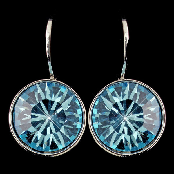Silver Aqua Swarovski Crystal Element Round Leverback Earrings 9600