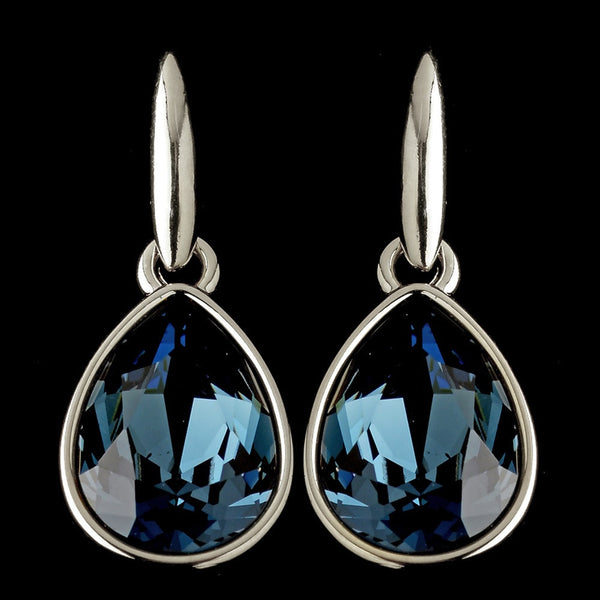 Silver Navy Blue Swarovski Crystal Element Teardrop Dangle Hook Earrings 9601