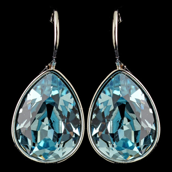 Silver Aqua Swarovski Crystal Element Teardrop Leverback Earrings 9602