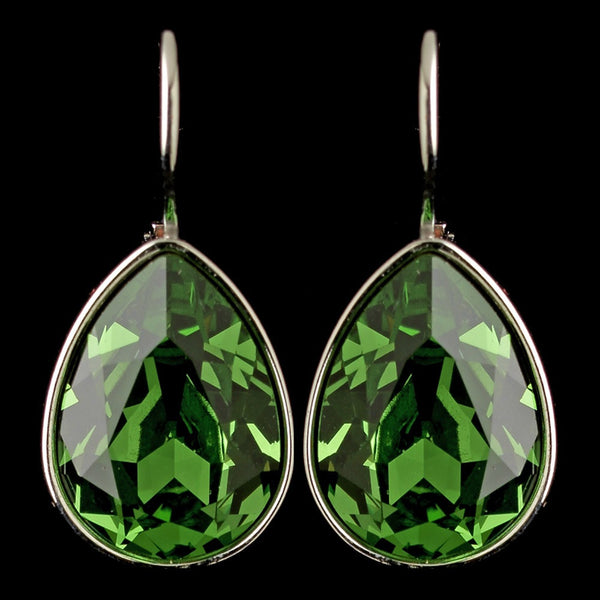 Silver Peridot Swarovski Crystal Element Teardrop Leverback Earrings 9602