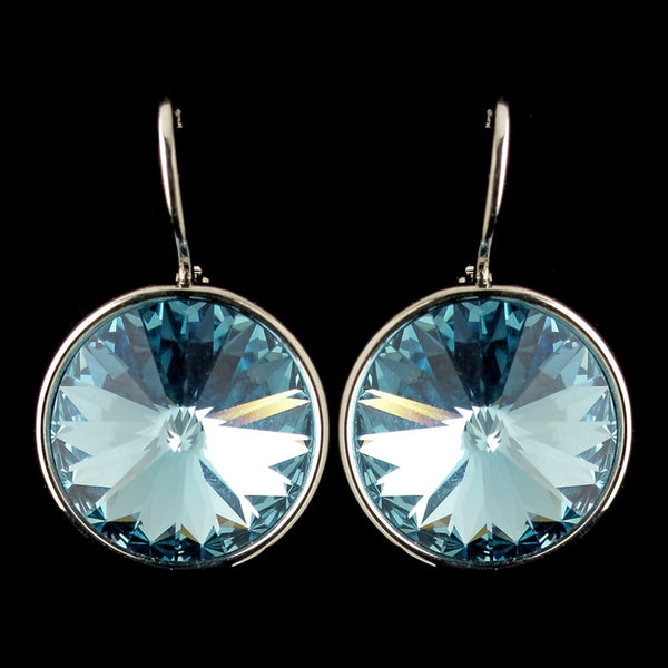 Silver Aqua Swarovski Crystal Element Large Round Leverback Earrings 9603