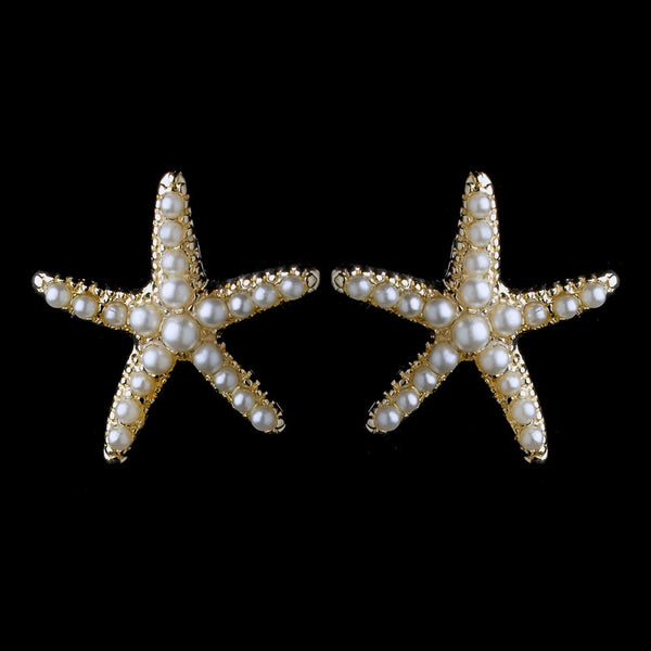 Gold Ivory Pearl Stud Starfish Earrings 9615