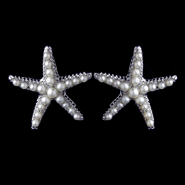 Rhodium Diamond White Pearl Stud Starfish Earrings 9615