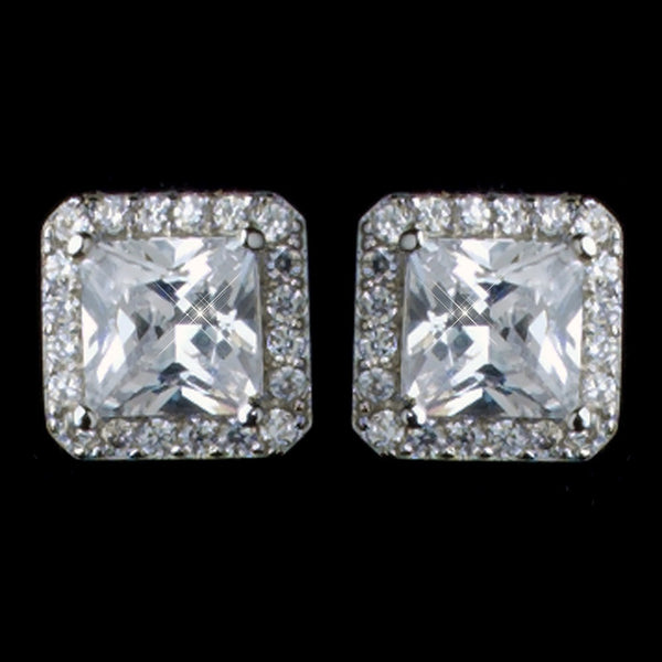 Rhodium Clear Princess Square Pave CZ Stud Earrings