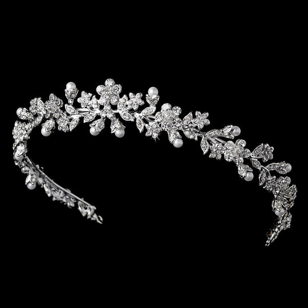 Floral Headband 3154 Silver White