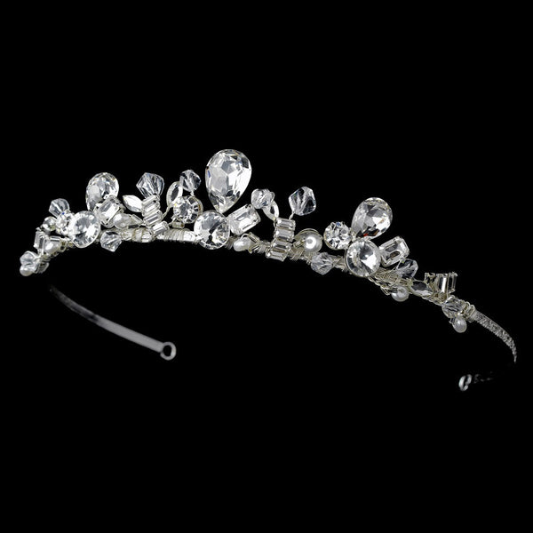 * Glamorous Silver Clear Crystal Tiara Headpiece 8393