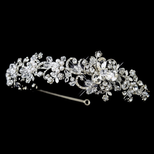 Antique Silver Clear Crystal & White Pearl Side Floral Accented Headband Headpiece 918