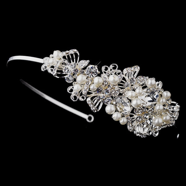 Antique Silver Side Accented Rhinestone & Pearl Headband HP 936