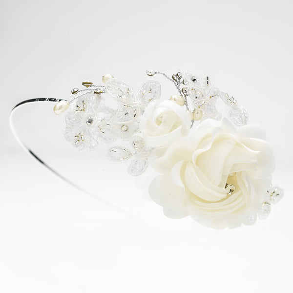 Dainty Side Accented Ivory Fabric Lace Flower Bridal Headband