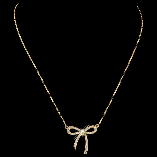 Gold Clear CZ Crystal Ribbon Pendent Necklace